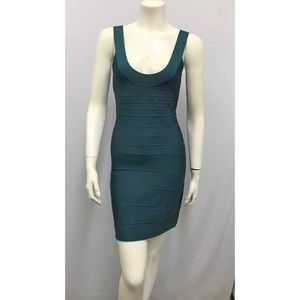 HERVE LEGER DRESS RARE TEAL Sexy Stretch Size XS
